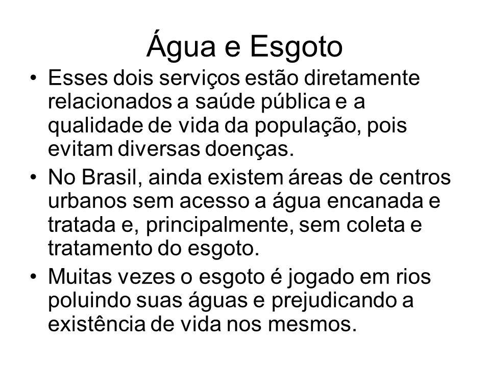 Água e Esgoto Esses dois serviços estão diretamente relacionados a saúde pública e a qualidade de vida da população, pois evitam diversas doenças. No