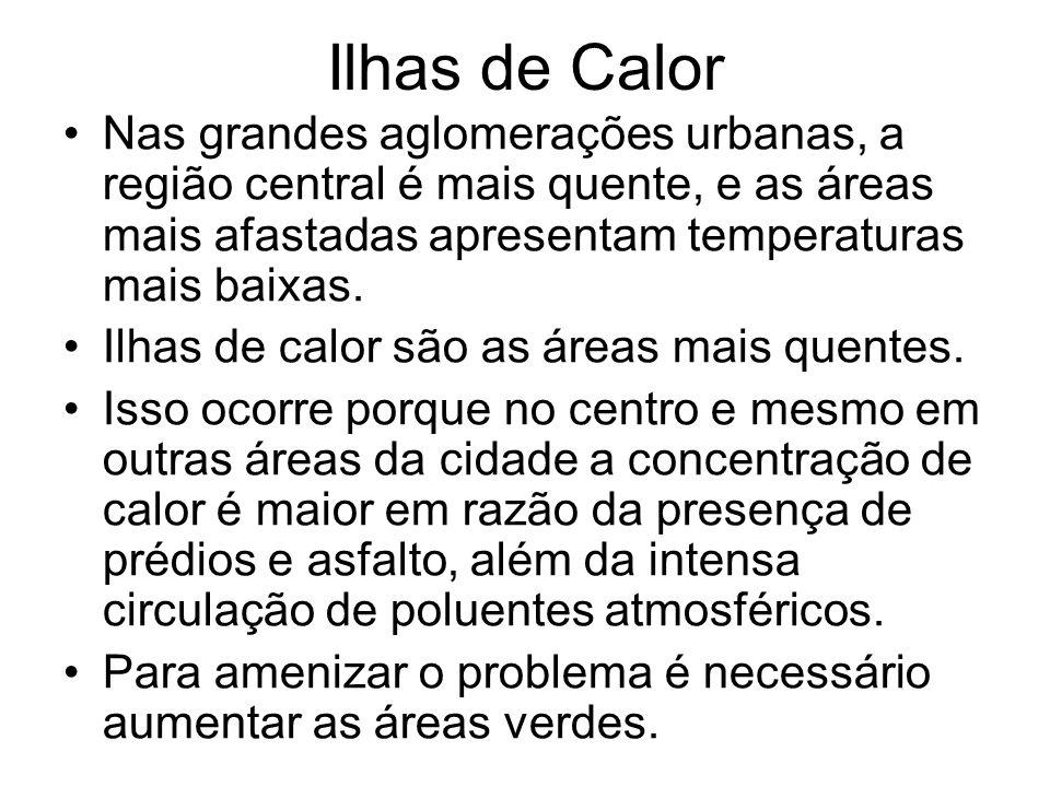 Ilhas de Calor Nas grandes aglomerações urbanas, a região central é mais quente, e as áreas mais afastadas apresentam temperaturas mais baixas. Ilhas