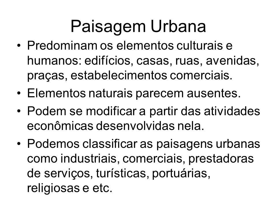 Paisagem Urbana Predominam os elementos culturais e humanos: edifícios, casas, ruas, avenidas, praças, estabelecimentos comerciais. Elementos naturais