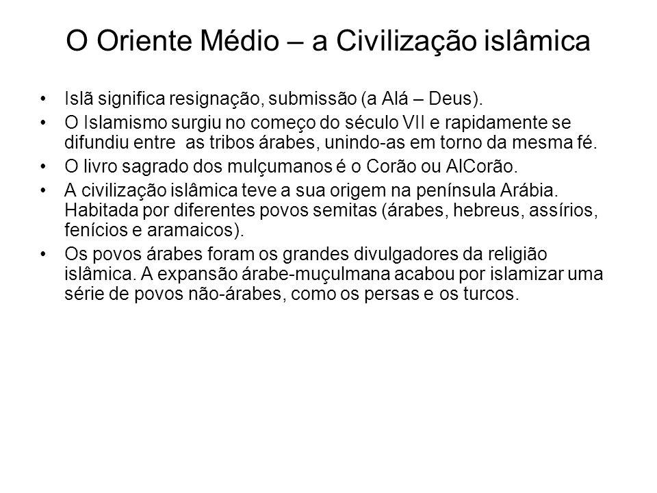 O Oriente Médio – a Civilização islâmica Islã significa resignação, submissão (a Alá – Deus). O Islamismo surgiu no começo do século VII e rapidamente