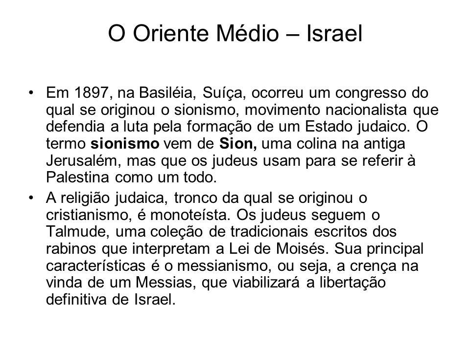O Oriente Médio – Israel Em 1897, na Basiléia, Suíça, ocorreu um congresso do qual se originou o sionismo, movimento nacionalista que defendia a luta
