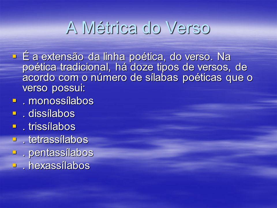 A Métrica do Verso É a extensão da linha poética, do verso. Na poética tradicional, há doze tipos de versos, de acordo com o número de sílabas poética