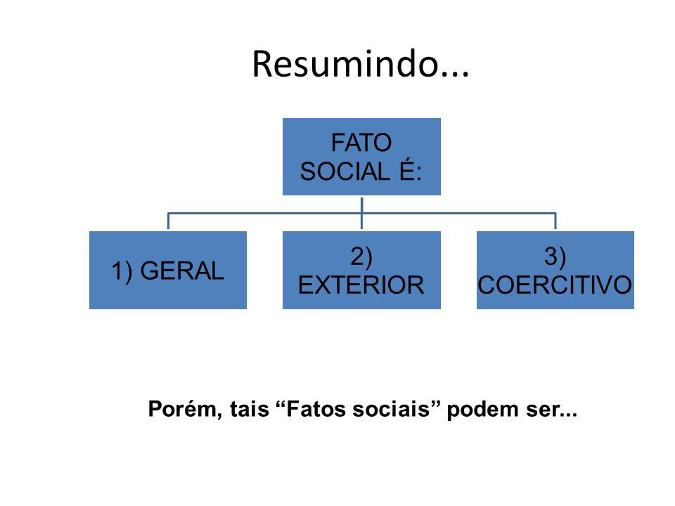 Resumindo... FATO SOCIAL É: 1) GERAL 2) EXTERIOR 3) COERCITIVO Porém, tais Fatos sociais podem ser...