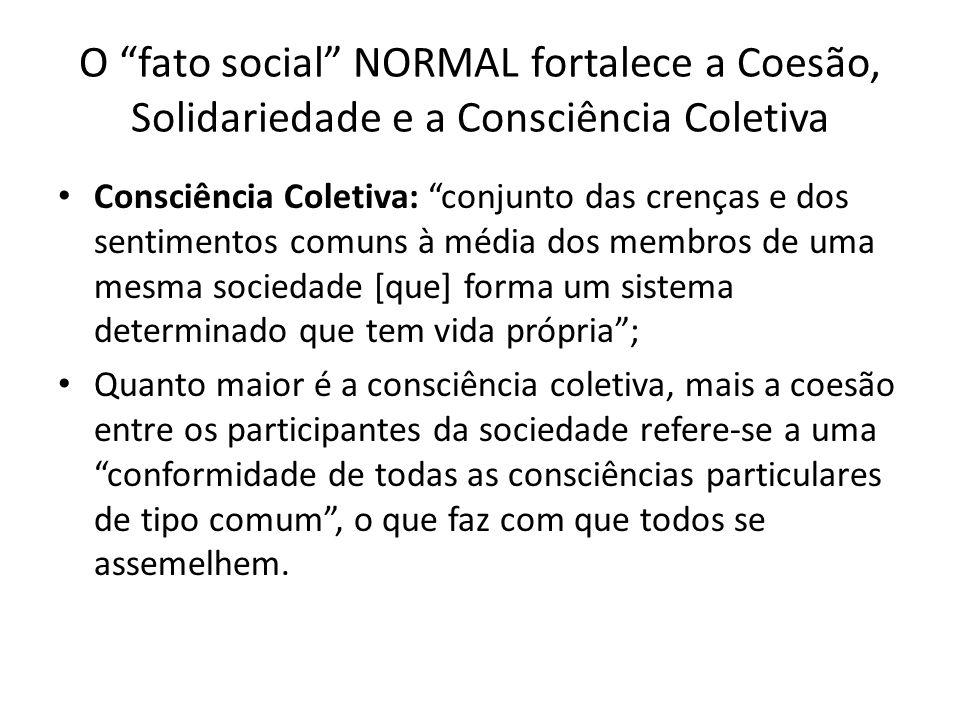 O fato social NORMAL fortalece a Coesão, Solidariedade e a Consciência Coletiva Consciência Coletiva: conjunto das crenças e dos sentimentos comuns à