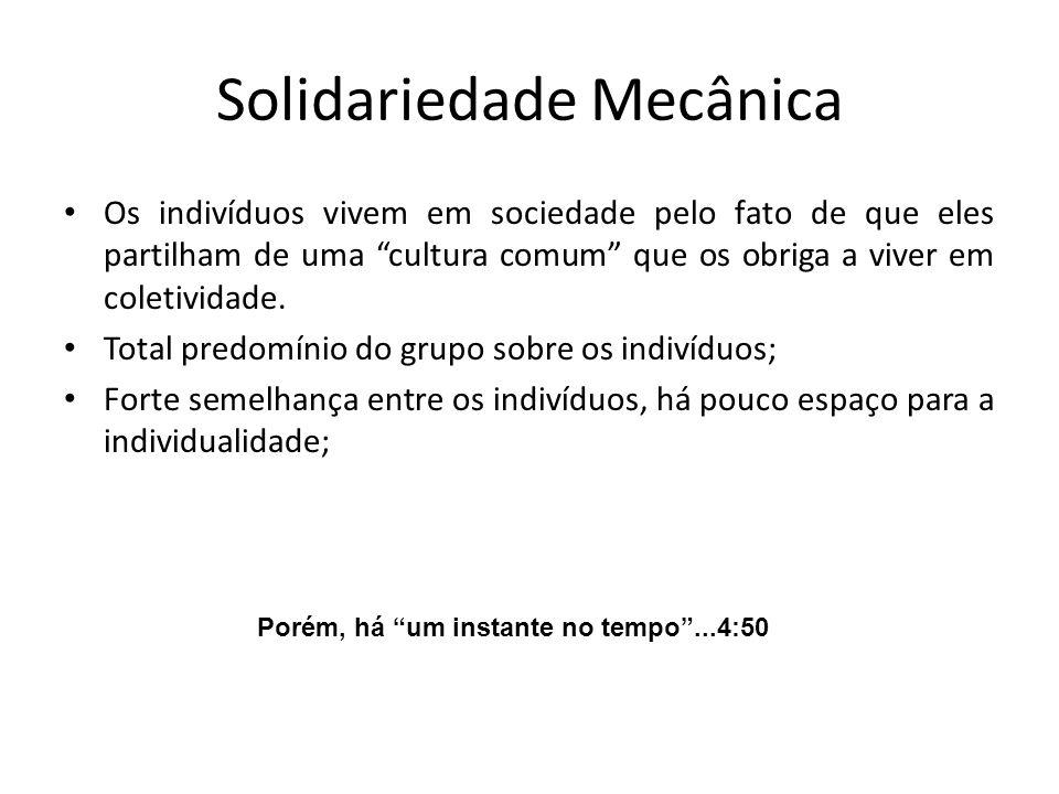 Solidariedade Mecânica Os indivíduos vivem em sociedade pelo fato de que eles partilham de uma cultura comum que os obriga a viver em coletividade.