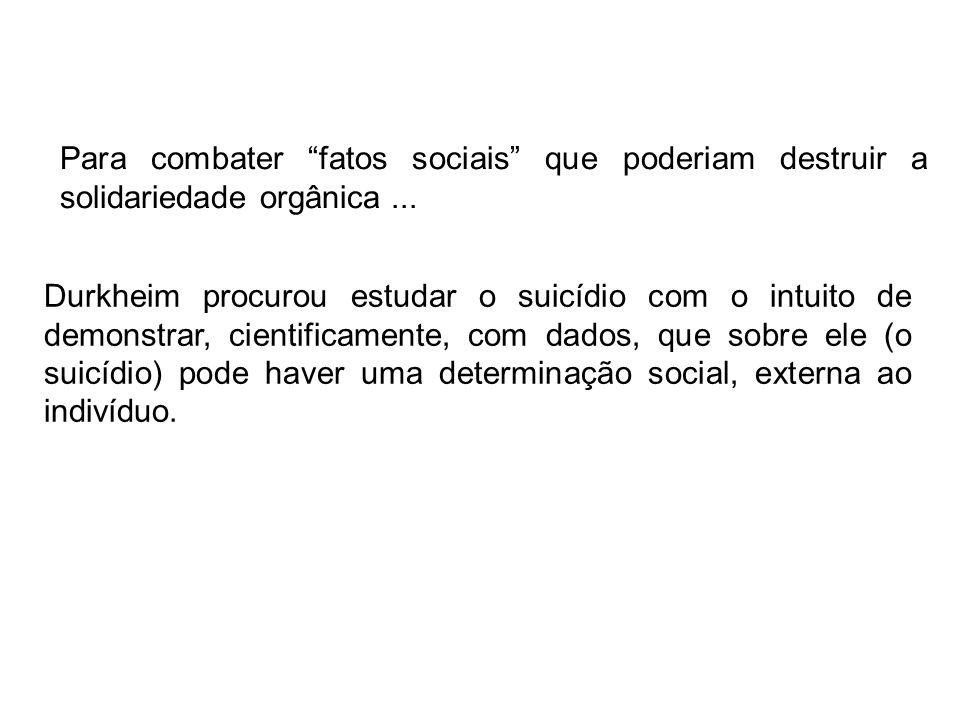 Durkheim procurou estudar o suicídio com o intuito de demonstrar, cientificamente, com dados, que sobre ele (o suicídio) pode haver uma determinação social, externa ao indivíduo.