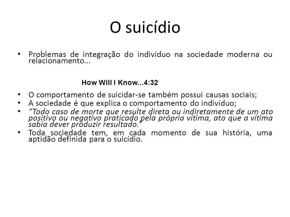 O suicídio Problemas de integração do indivíduo na sociedade moderna ou relacionamento... O comportamento de suicidar-se também possui causas sociais;