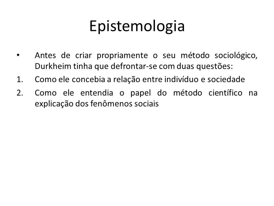 Epistemologia Antes de criar propriamente o seu método sociológico, Durkheim tinha que defrontar-se com duas questões: 1.Como ele concebia a relação entre indivíduo e sociedade 2.Como ele entendia o papel do método científico na explicação dos fenômenos sociais