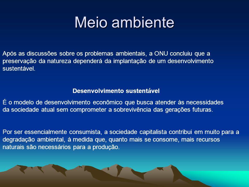 Meio ambiente Após as discussões sobre os problemas ambientais, a ONU concluiu que a preservação da natureza dependerá da implantação de um desenvolvi