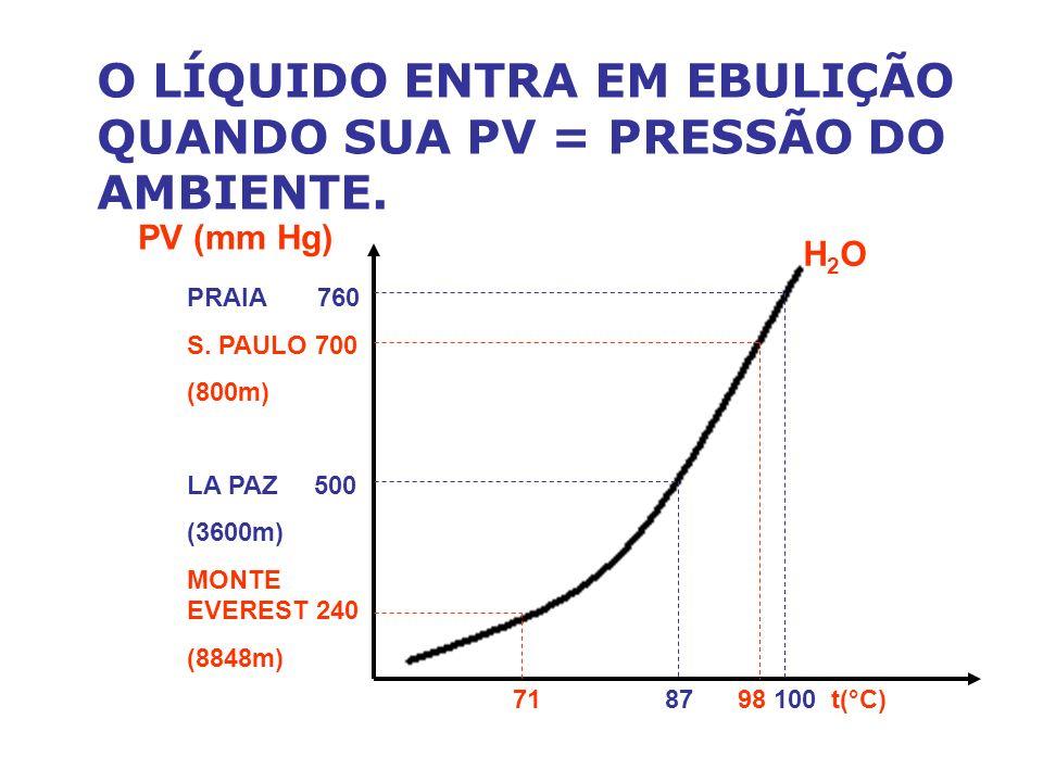 O LÍQUIDO ENTRA EM EBULIÇÃO QUANDO SUA PV = PRESSÃO DO AMBIENTE.