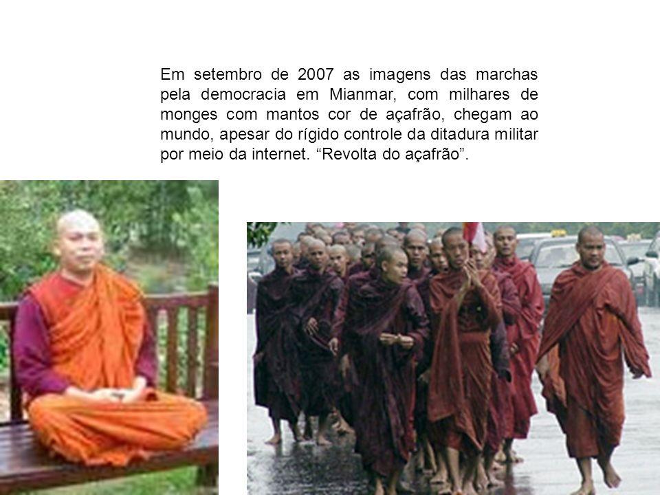 Em setembro de 2007 as imagens das marchas pela democracia em Mianmar, com milhares de monges com mantos cor de açafrão, chegam ao mundo, apesar do rí