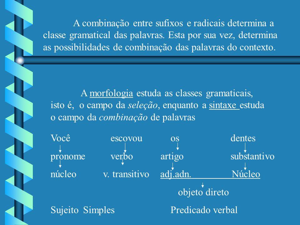 A combinação entre sufixos e radicais determina a classe gramatical das palavras.