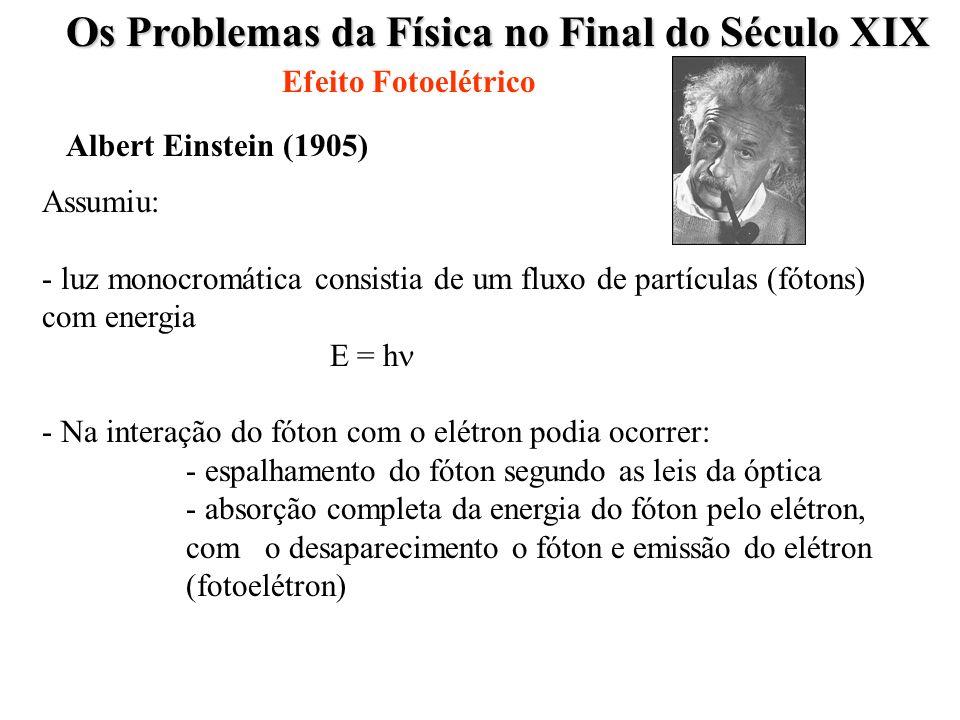 Os Problemas da Física no Final do Século XIX Efeito Fotoelétrico Albert Einstein 1905) Energia cinética do fotoelétron Energia do Fóton incidente Trabalho para remover o elétron do metal K = h f - w E CIN = h f -