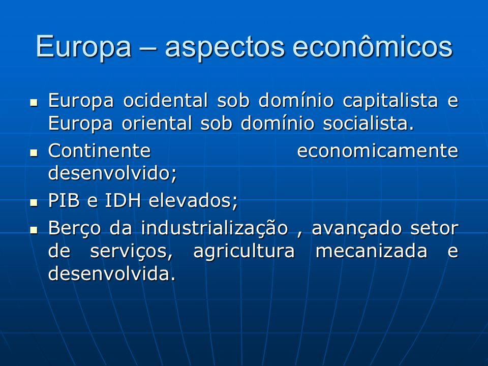 Europa – aspectos econômicos Europa ocidental sob domínio capitalista e Europa oriental sob domínio socialista. Europa ocidental sob domínio capitalis