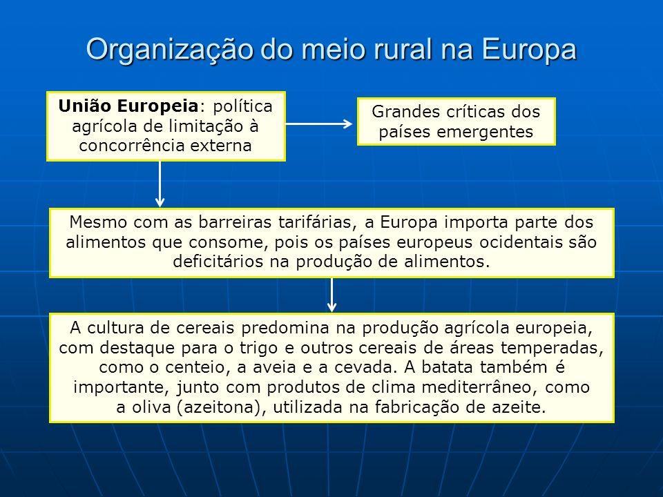 Organização do meio rural na Europa União Europeia: política agrícola de limitação à concorrência externa Grandes críticas dos países emergentes Mesmo
