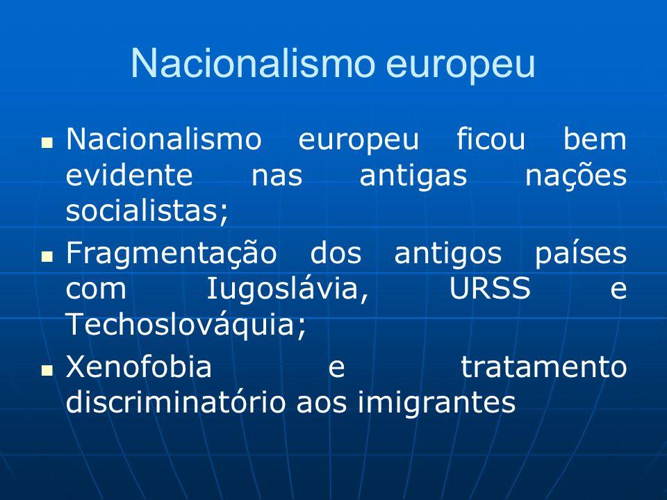 Nacionalismo europeu Nacionalismo europeu ficou bem evidente nas antigas nações socialistas; Fragmentação dos antigos países com Iugoslávia, URSS e Te