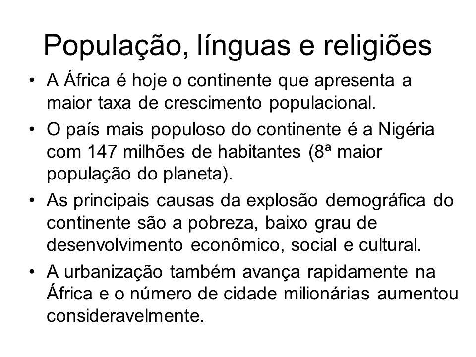 População, línguas e religiões A África é hoje o continente que apresenta a maior taxa de crescimento populacional. O país mais populoso do continente