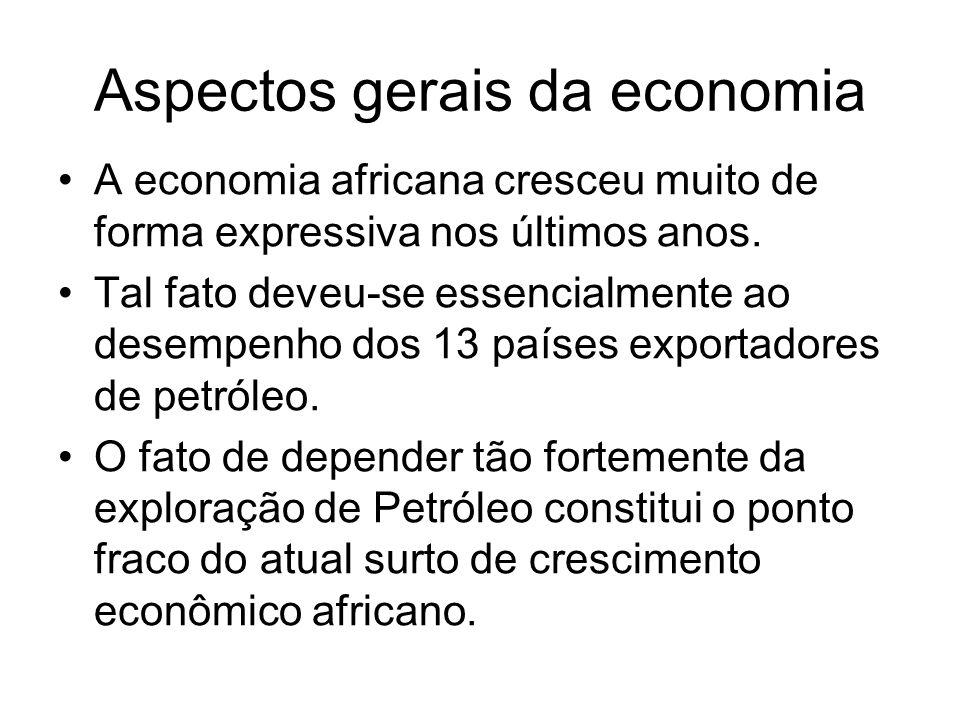 Aspectos gerais da economia A economia africana cresceu muito de forma expressiva nos últimos anos. Tal fato deveu-se essencialmente ao desempenho dos