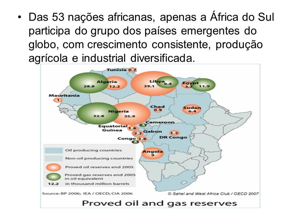 Das 53 nações africanas, apenas a África do Sul participa do grupo dos países emergentes do globo, com crescimento consistente, produção agrícola e in