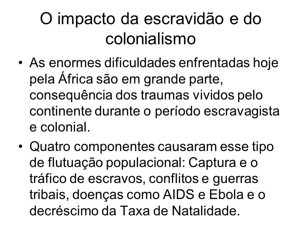 O impacto da escravidão e do colonialismo As enormes dificuldades enfrentadas hoje pela África são em grande parte, consequência dos traumas vividos p