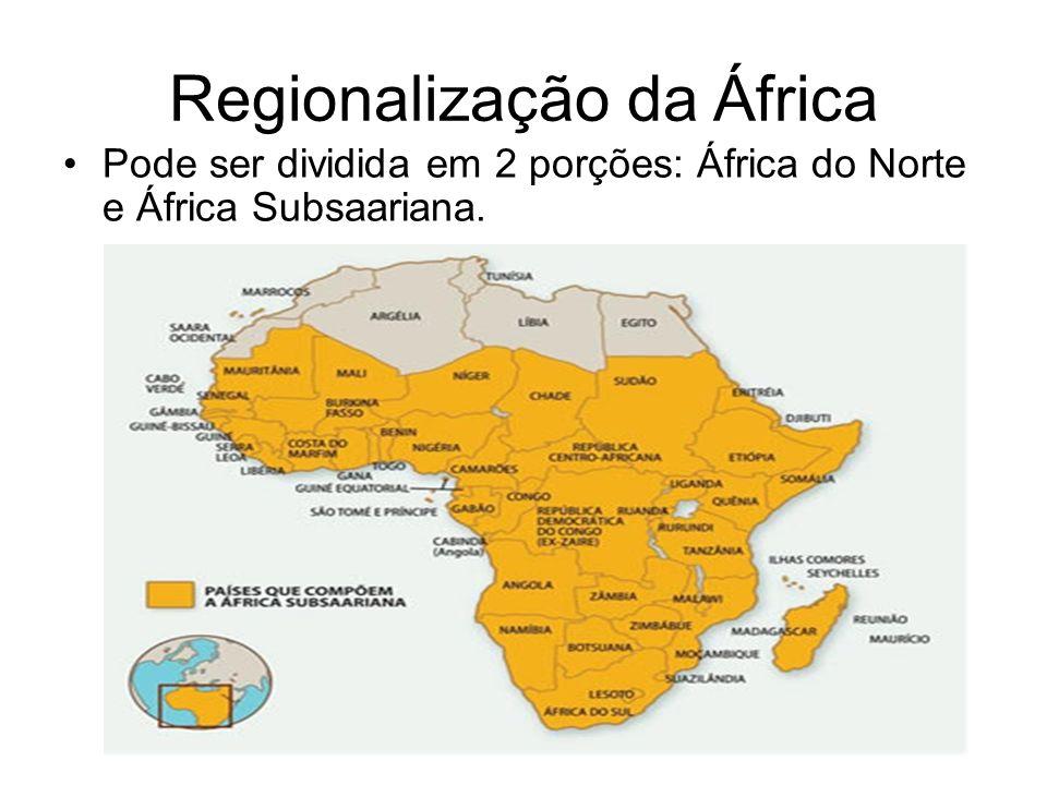 Regionalização da África Pode ser dividida em 2 porções: África do Norte e África Subsaariana.