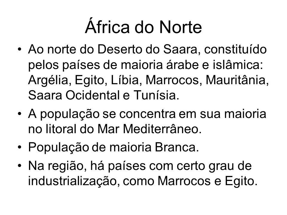 África do Norte Ao norte do Deserto do Saara, constituído pelos países de maioria árabe e islâmica: Argélia, Egito, Líbia, Marrocos, Mauritânia, Saara