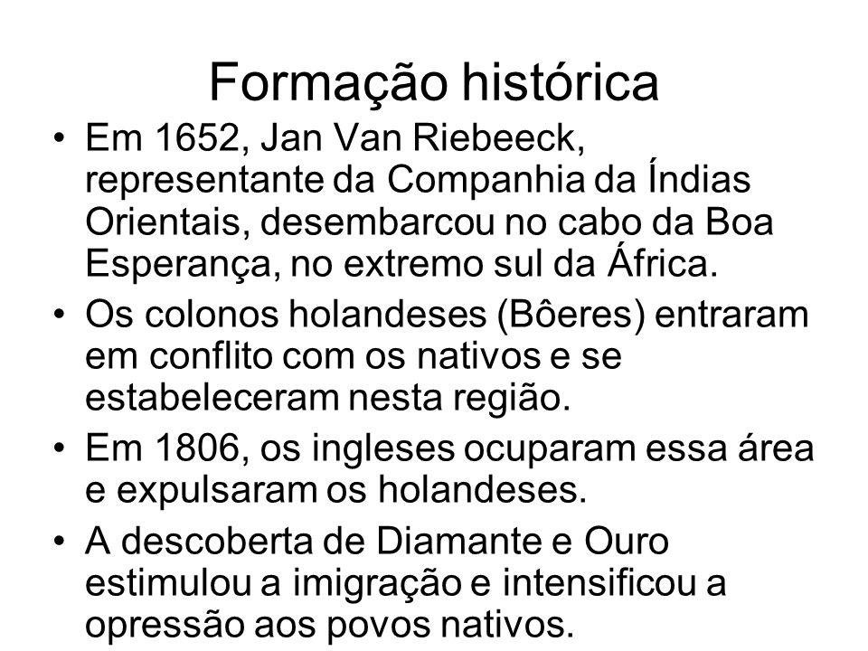 Formação histórica Em 1652, Jan Van Riebeeck, representante da Companhia da Índias Orientais, desembarcou no cabo da Boa Esperança, no extremo sul da
