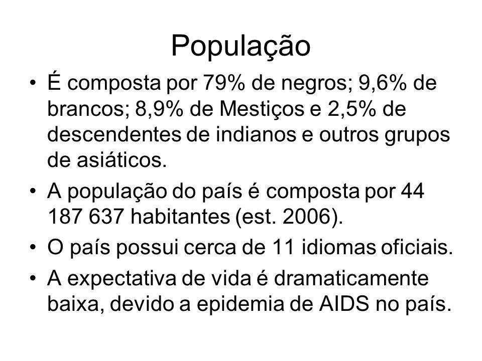 População É composta por 79% de negros; 9,6% de brancos; 8,9% de Mestiços e 2,5% de descendentes de indianos e outros grupos de asiáticos. A população