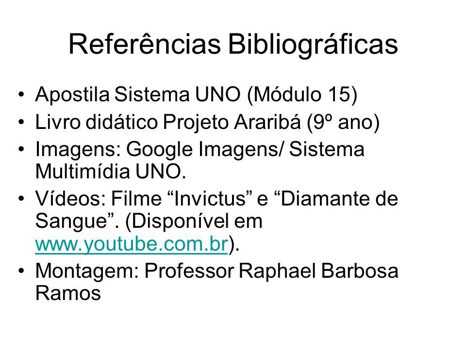Referências Bibliográficas Apostila Sistema UNO (Módulo 15) Livro didático Projeto Araribá (9º ano) Imagens: Google Imagens/ Sistema Multimídia UNO. V