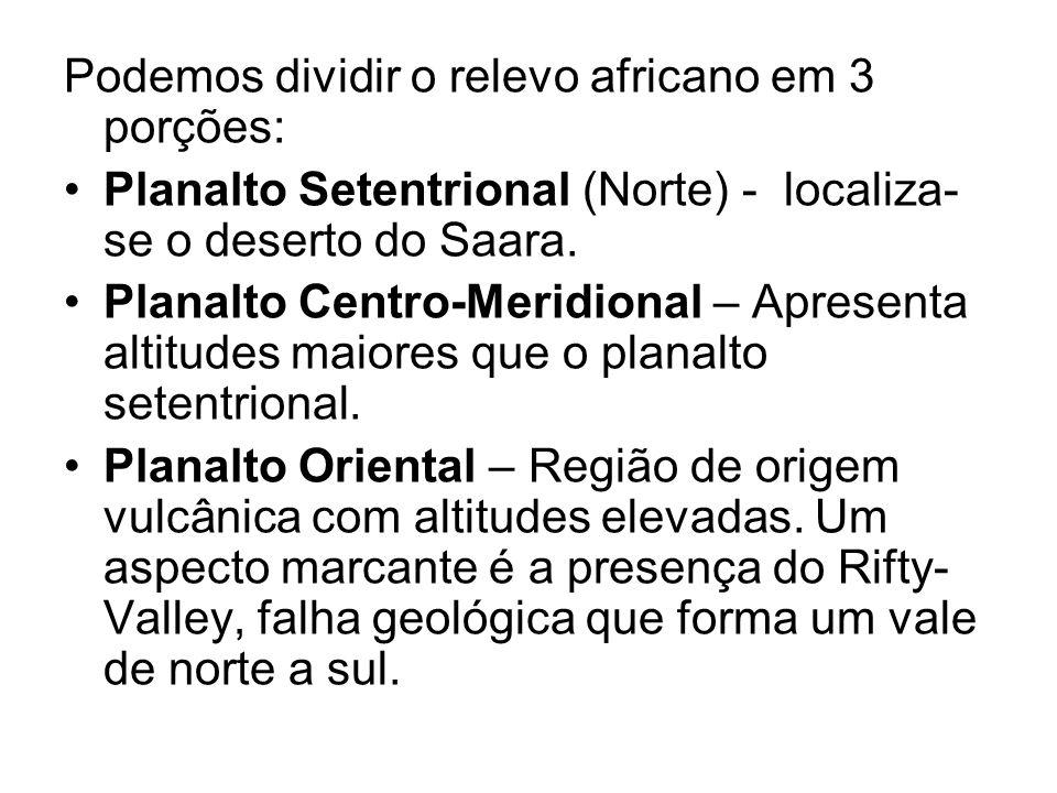 Podemos dividir o relevo africano em 3 porções: Planalto Setentrional (Norte) - localiza- se o deserto do Saara. Planalto Centro-Meridional – Apresent