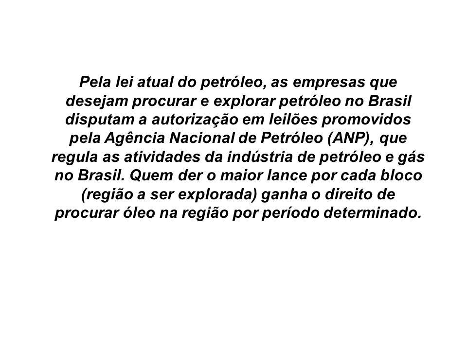 Pela lei atual do petróleo, as empresas que desejam procurar e explorar petróleo no Brasil disputam a autorização em leilões promovidos pela Agência N