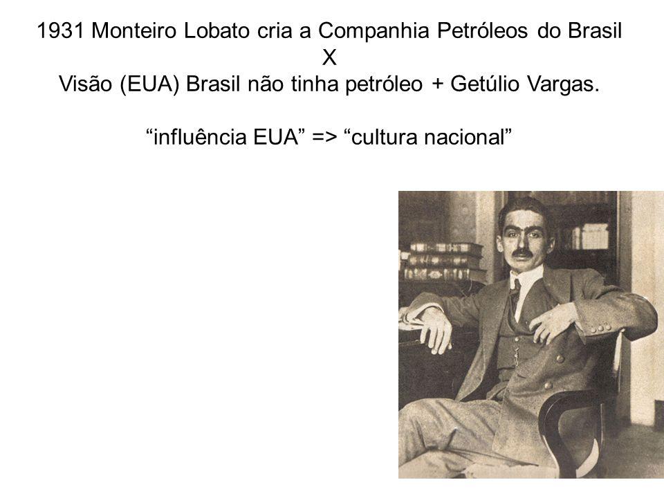 1931 Monteiro Lobato cria a Companhia Petróleos do Brasil X Visão (EUA) Brasil não tinha petróleo + Getúlio Vargas. influência EUA => cultura nacional