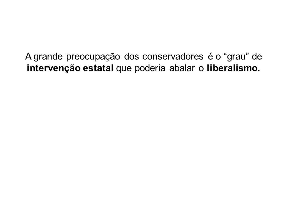 A grande preocupação dos conservadores é o grau de intervenção estatal que poderia abalar o liberalismo.