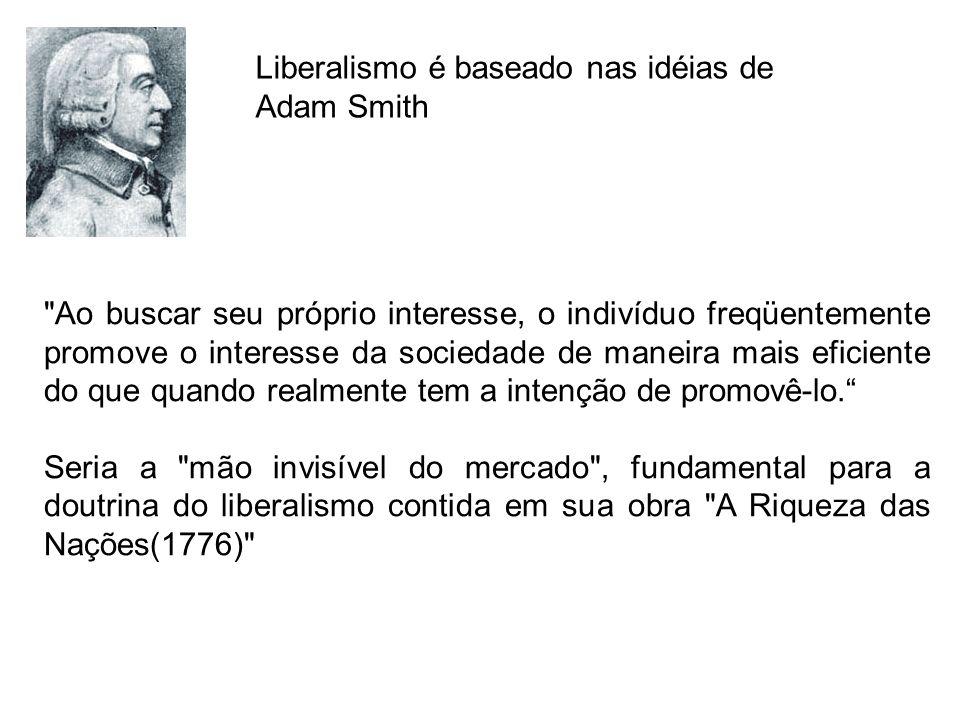 Liberalismo é baseado nas idéias de Adam Smith