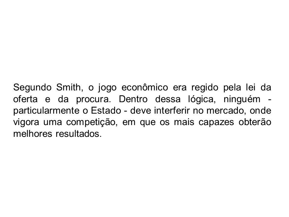 Segundo Smith, o jogo econômico era regido pela lei da oferta e da procura. Dentro dessa lógica, ninguém - particularmente o Estado - deve interferir