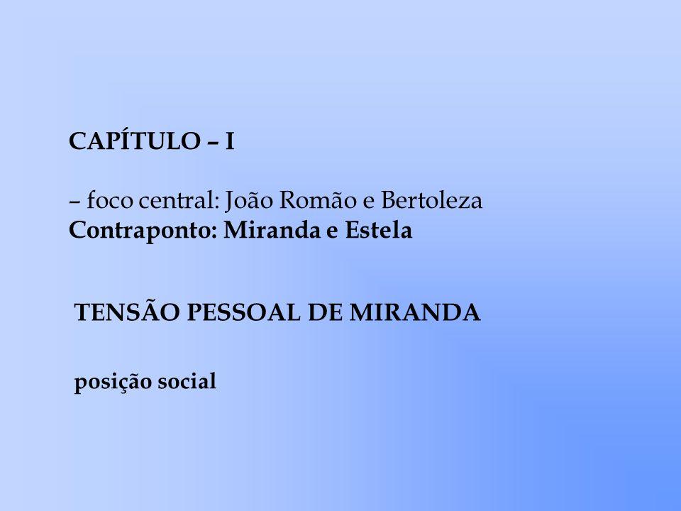 CAPÍTULO – I – foco central: João Romão e Bertoleza Contraponto: Miranda e Estela TENSÃO PESSOAL DE MIRANDA posição social