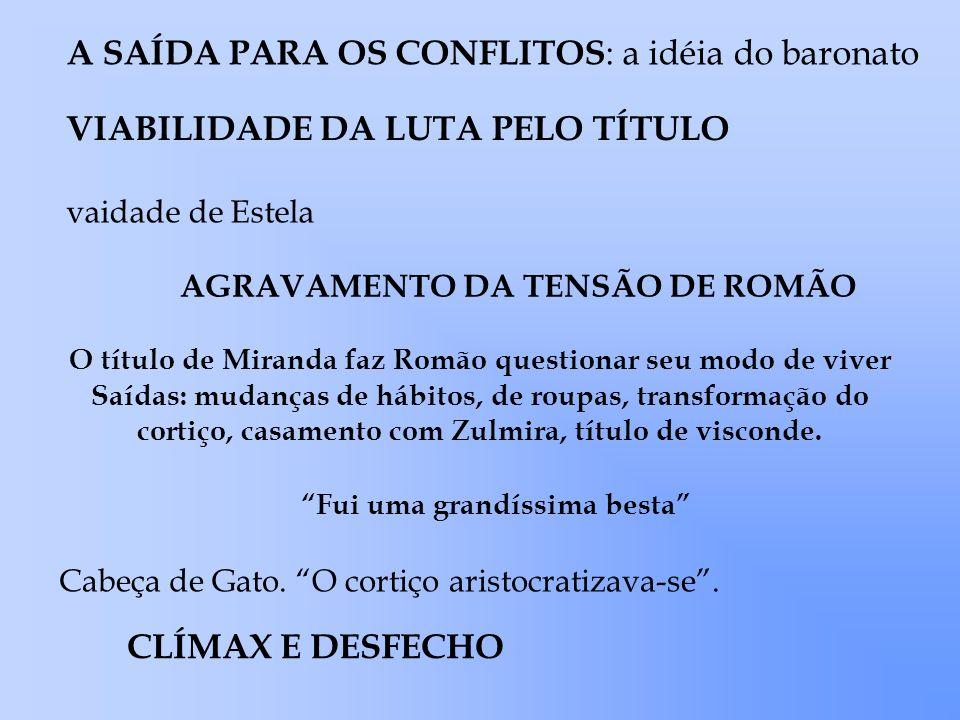 A SAÍDA PARA OS CONFLITOS : a idéia do baronato VIABILIDADE DA LUTA PELO TÍTULO vaidade de Estela AGRAVAMENTO DA TENSÃO DE ROMÃO O título de Miranda f