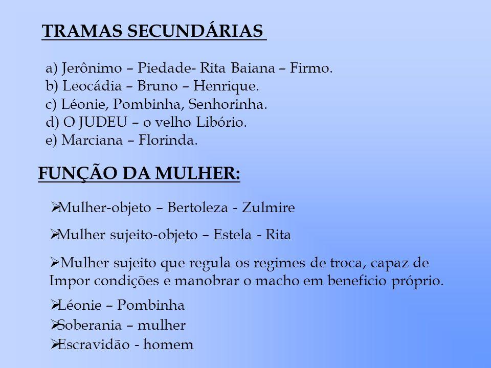 TRAMAS SECUNDÁRIAS a) Jerônimo – Piedade- Rita Baiana – Firmo. b) Leocádia – Bruno – Henrique. c) Léonie, Pombinha, Senhorinha. d) O JUDEU – o velho L