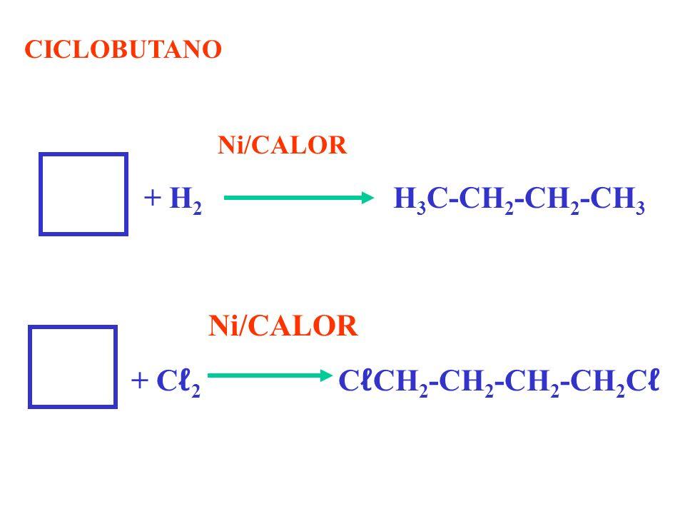 CICLOBUTANO Ni/CALOR + H 2 H 3 C-CH 2 -CH 2 -CH 3 Ni/CALOR + C 2 C CH 2 -CH 2 -CH 2 -CH 2 C