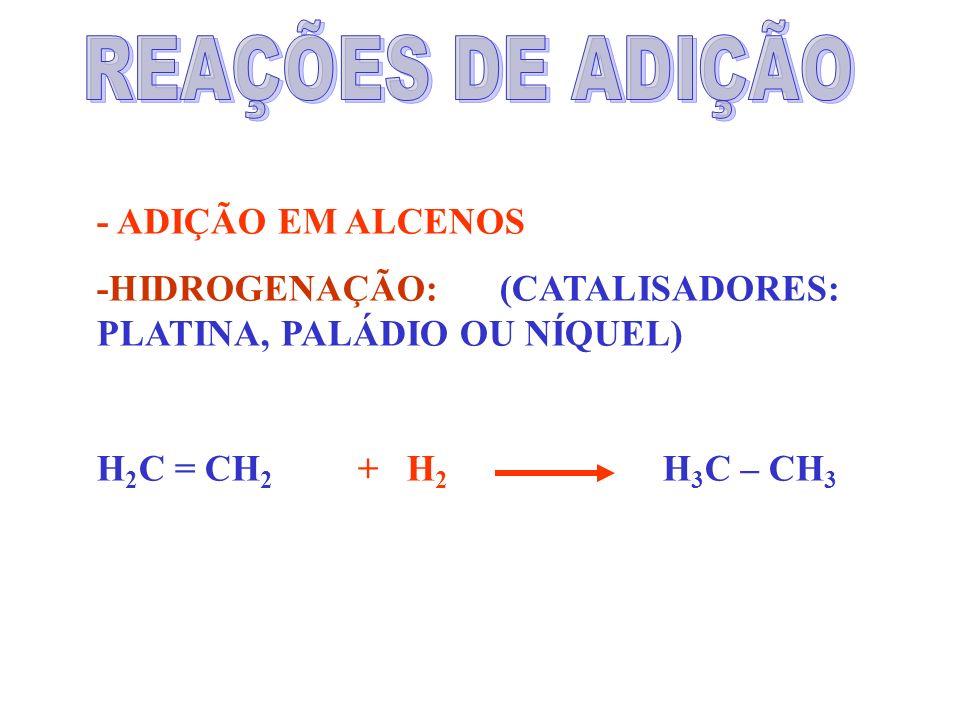 - ADIÇÃO EM ALCENOS -HIDROGENAÇÃO: (CATALISADORES: PLATINA, PALÁDIO OU NÍQUEL) H 2 C = CH 2 + H 2 H 3 C – CH 3
