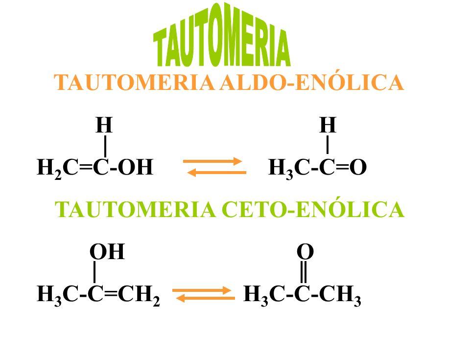 TAUTOMERIA ALDO-ENÓLICA H H H 2 C=C-OH H 3 C-C=O TAUTOMERIA CETO-ENÓLICA OH O H 3 C-C=CH 2 H 3 C-C-CH 3