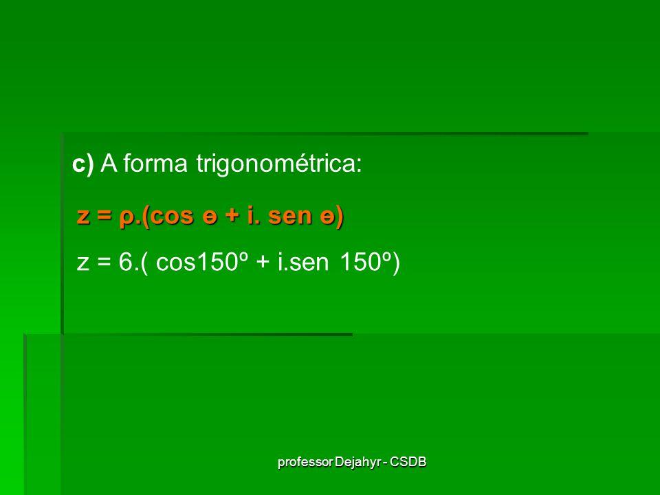 professor Dejahyr - CSDB Possibilidades de se trabalhar com números complexos: Forma algébrica Afixo Forma geométrica Forma trigonométrica