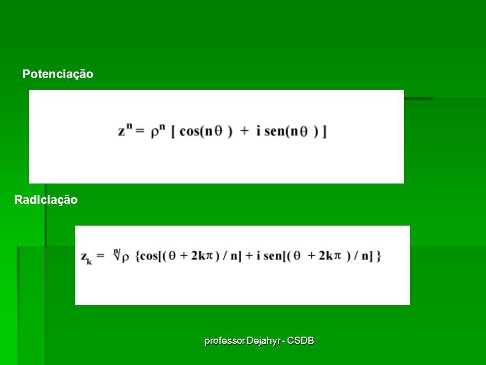 professor Dejahyr - CSDB Exercícios Resolvidos 01 - Sejam os complexos z 1 = (2x+1) + yi e z 2 = -y + 2i Determine x e y de modo que z 1 + z 2 = 0 Temos que: z 1 + z 2 = (2x + 1 -y) + (y +2) = 0 logo, é preciso que: 2x + 1 - y =0 e y + 2 = 0 Resolvendo, temos que y = -2 e x = -3/2