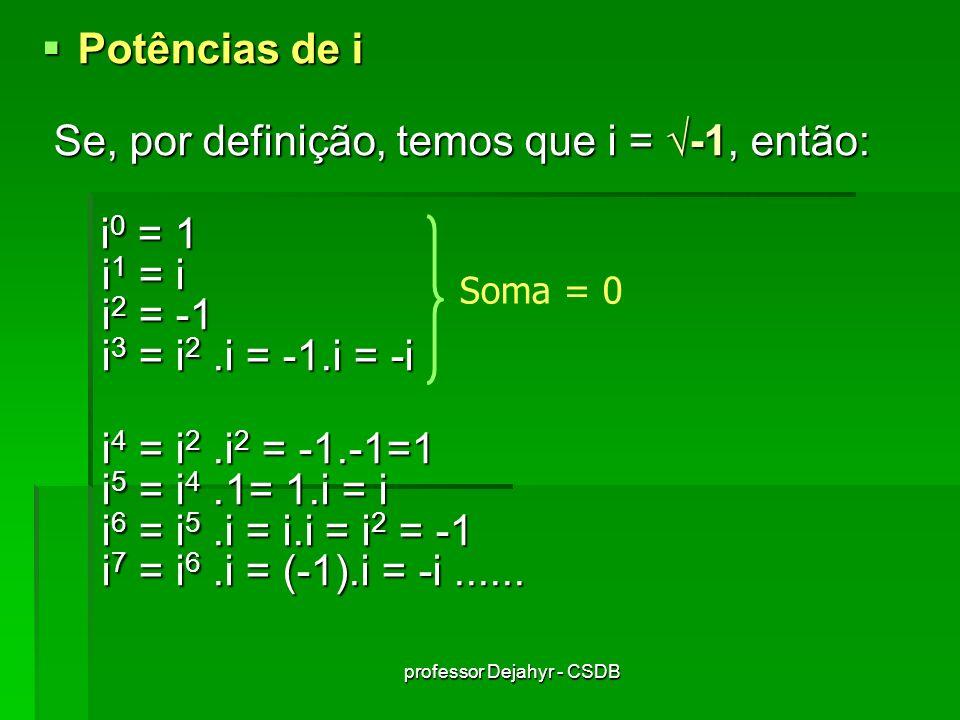 professor Dejahyr - CSDB Potências de i Potências de i Se, por definição, temos que i = -1, então: Se, por definição, temos que i = -1, então: i 0 = 1 i 1 = i i 2 = -1 i 3 = i 2.i = -1.i = -i i 0 = 1 i 1 = i i 2 = -1 i 3 = i 2.i = -1.i = -i i 4 = i 2.i 2 = -1.-1=1 i 5 = i 4.1= 1.i = i i 6 = i 5.i = i.i = i 2 = -1 i 7 = i 6.i = (-1).i = -i......