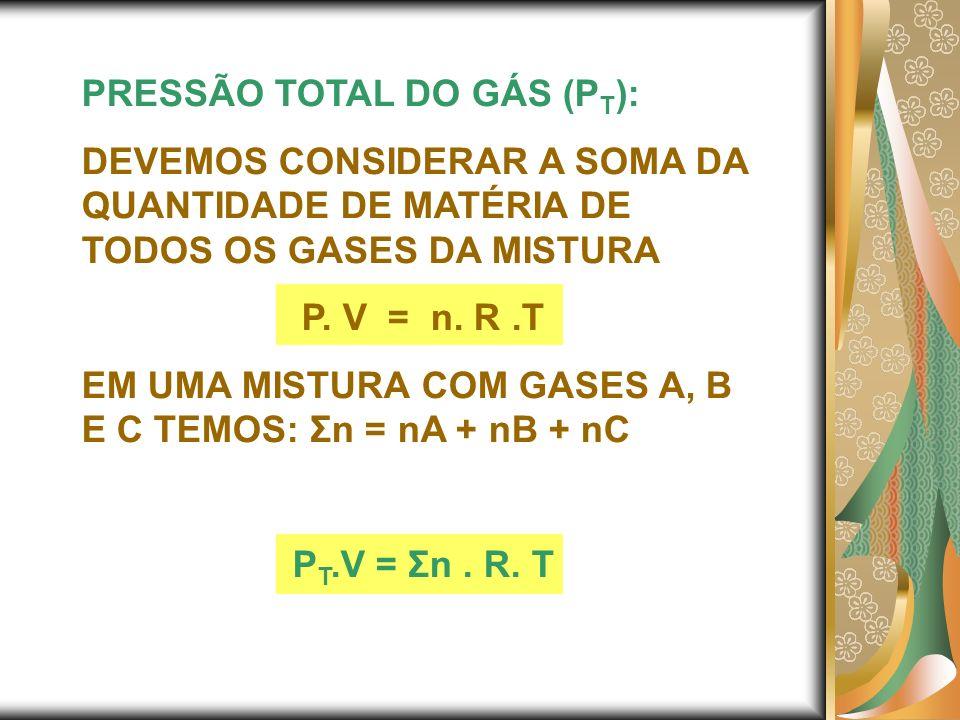 PRESSÃO TOTAL DO GÁS (P T ): DEVEMOS CONSIDERAR A SOMA DA QUANTIDADE DE MATÉRIA DE TODOS OS GASES DA MISTURA P. V = n. R.T EM UMA MISTURA COM GASES A,