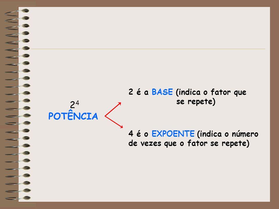 2 4 POTÊNCIA 2 é a BASE (indica o fator que se repete) 4 é o EXPOENTE (indica o número de vezes que o fator se repete)