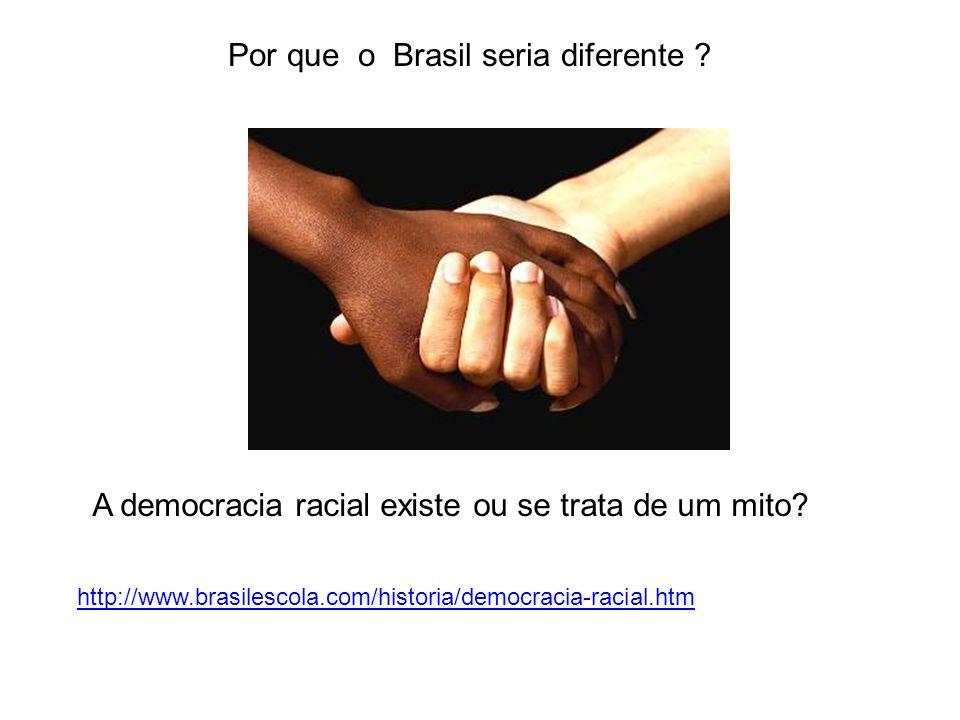 A democracia racial existe ou se trata de um mito? http://www.brasilescola.com/historia/democracia-racial.htm Por que o Brasil seria diferente ?