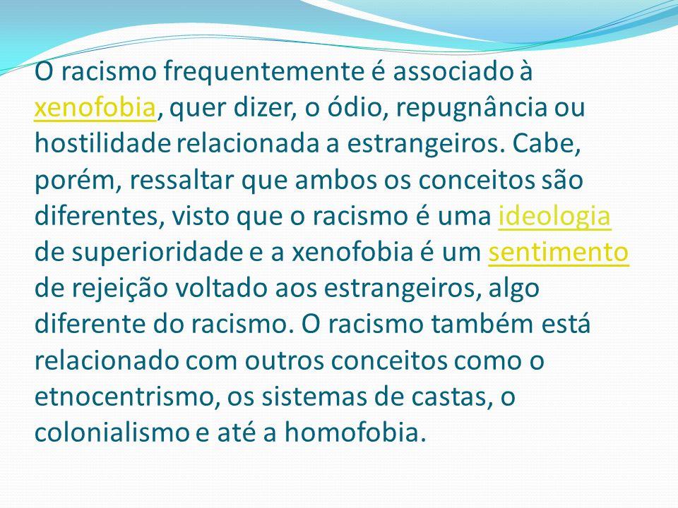 O racismo frequentemente é associado à xenofobia, quer dizer, o ódio, repugnância ou hostilidade relacionada a estrangeiros. Cabe, porém, ressaltar qu