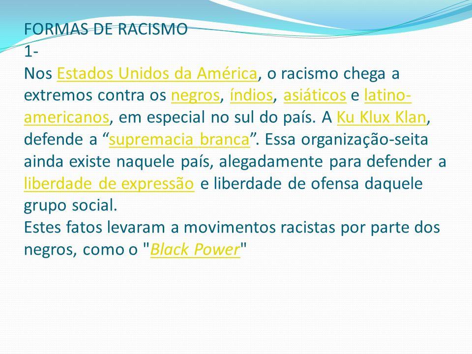 FORMAS DE RACISMO 1- Nos Estados Unidos da América, o racismo chega a extremos contra os negros, índios, asiáticos e latino- americanos, em especial n