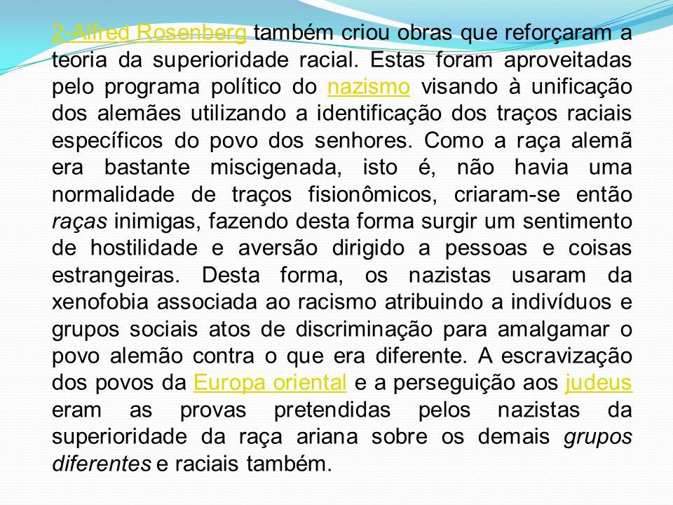 2-Alfred Rosenberg2-Alfred Rosenberg também criou obras que reforçaram a teoria da superioridade racial. Estas foram aproveitadas pelo programa políti